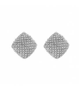 Zilverkleurige oorclips met strasssteentjes
