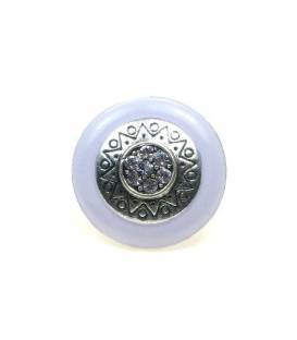 Ronde oorclips met lila rand en lila strass steentjes