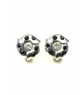 Ronde metalen oorclips met zwarte en heldere strass