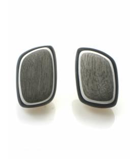 Mooie zwarte oorclips met grijze houten inleg