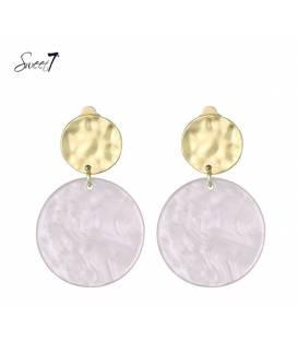 Sweet7 oorclips met ronde roze hanger