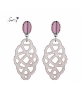 Oorclips met cat eye roze steen en roze hanger