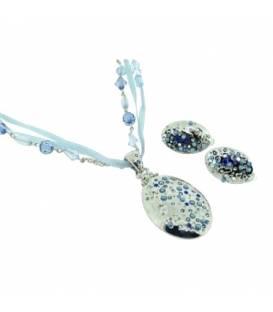 Blauwe korte halsketting met bijpassende oorclips