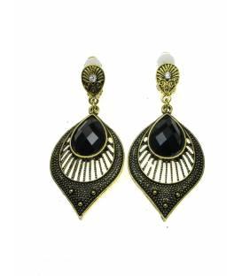 Oudgoudkleur oorclips met ovale hanger en zwart steen