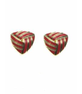 Driehoekige rood met goudkleurige oorclips