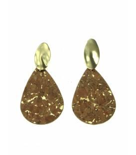 Goudkleurige oorclips met bruingouden ovale hanger van kurk