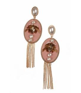 Mooie lange roze oorclips met strengetjes